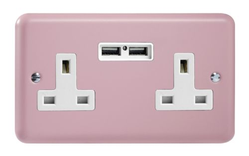 Varilight XY5U2W.RP Lily Pastel Rose Pink 2 Gang Double 13A Unswitched Plug Socket 2.1A USB